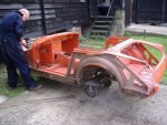 MG Midget, stripped back to good metal before sand-blasting